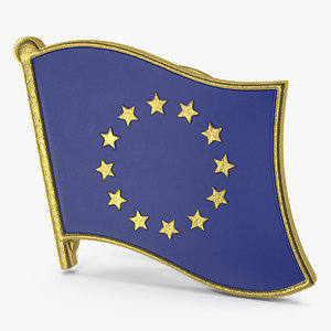 3D european union flag lapel model