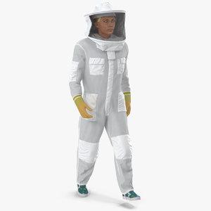 3D female professional beekeeper walking