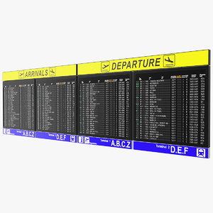 airport timetable arrivals departures 3D