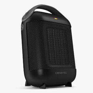 compact ceramic heater black 3D model