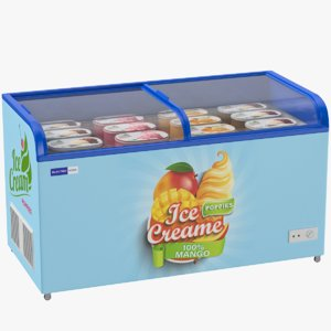 supermarket ice cream freezer 3D model