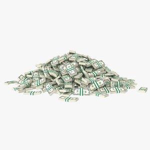 2 dollar bill stack 3D model