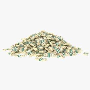 3D 5 dollar bill stack