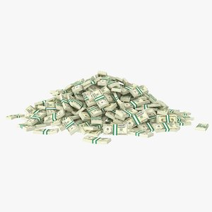 3D 20 dollar bill stack
