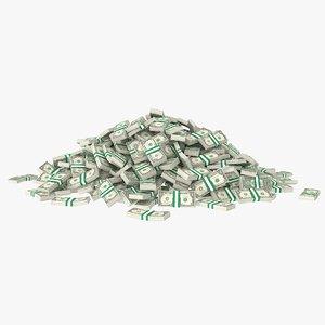 1 dollar bill stack 3D model