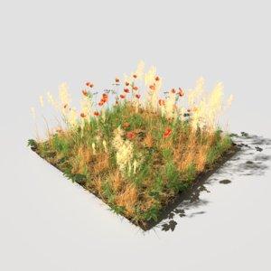pbr meadow patch poppy 3D model