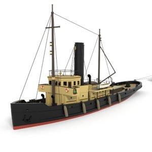 3D old tugboat barge