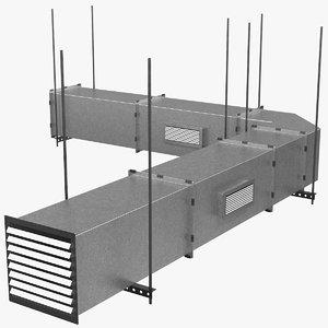 3D corner square air duct model