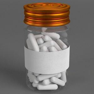 pharma capsule pills bottle 3d max