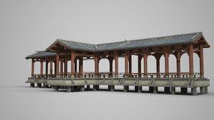 luxurious corridor ancient 3D model