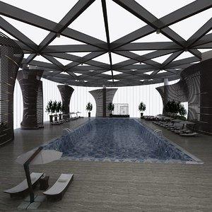 indoor pool patio sets 3D model