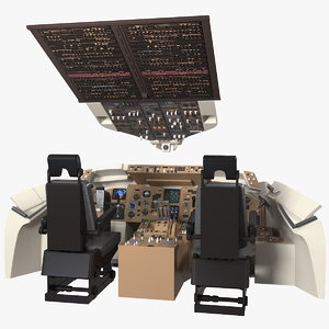 commercial airplane pilot cockpit 3D model