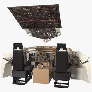 commercial airplane pilot cockpit 3D model