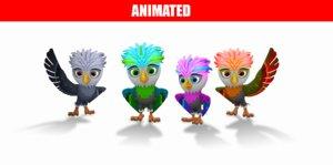 cartoon birds pack animations model