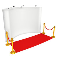 Trade show booth white and blank with gold rope barrier and red carpet