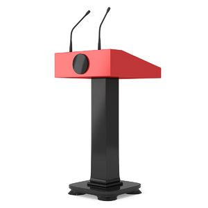 3D speaker podium black red
