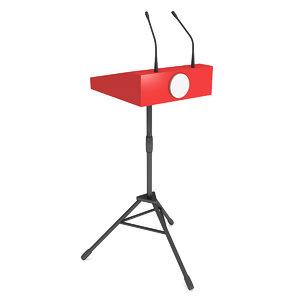 3D red speaker podium tripod model
