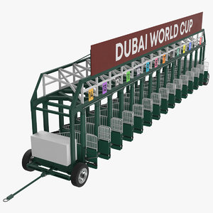 3D horse racing starting gates