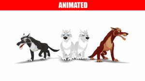 3D wolves pack animations model