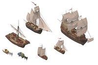 Set sailboats lowpoly