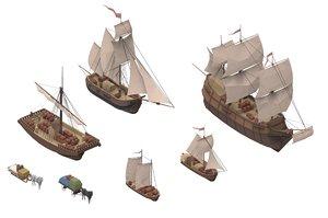 3D sailboats sailing ships