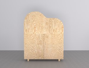 3D wooden cabinet chair