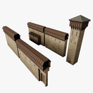 medieval fortification pack wall 3D model