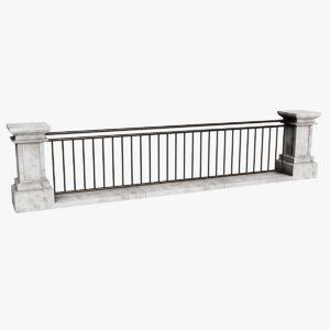 3D metal railing model