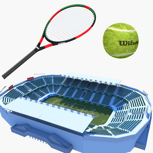 tennis court racket 3D model