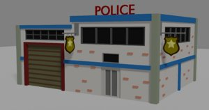 police building isometric 3D