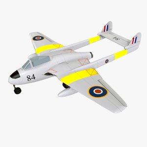 3D havilland vampire fighter plane model