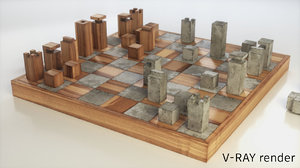 chess wood concrate 3D