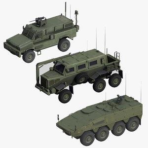 3D nato wheeled military vehicles