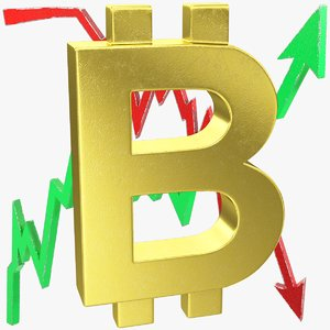 3D model graphs bitcoin symbol