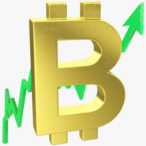 3D graph bitcoin symbol rising model