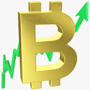 3D graph bitcoin symbol rising model