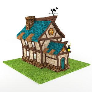 3D cartoon house low-poly