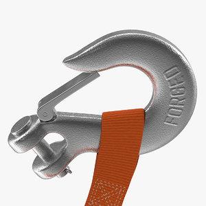 3D model winch clevis hook