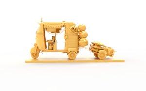 3D model indian tuk taxi