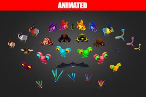 3D model spiders animations