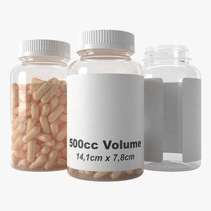 pills bottle 500cc type3 3D