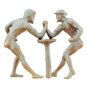 3D model sculpture greeks wrestling arms