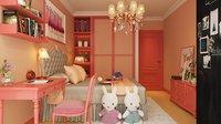 Pink Child Room 3D model Scene