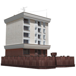 3D apartment building architectural model