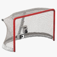 Ice Hockey Goal With Puck Ripping Net Top 01