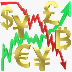 currency symbols graphs bitcoin 3D model