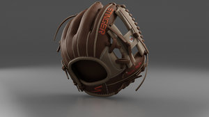 3D baseball glove brown model