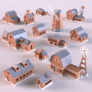 3D countryside buildings 01