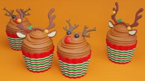 3D christmas cupcake deer model