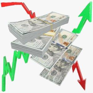 3D dollars bills graphs banknotes